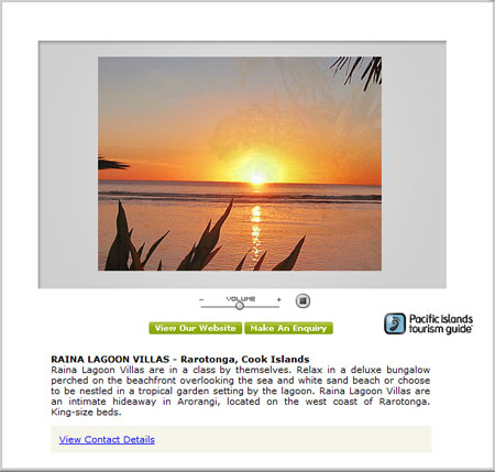 Audio Visual Example, Advertising Opportunities with Pacific Islands Tourism Guide