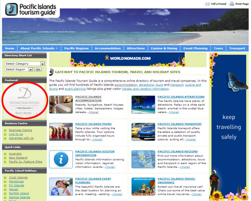 Button Example, Advertising Opportunities with Pacific Islands Tourism Guide