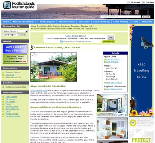 Web Page Full Example, Advertising Opportunities with Pacific Islands Tourism Guide