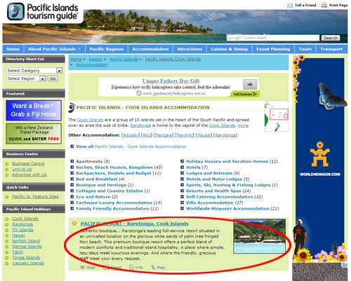 Major Category Listing Example, Advertising Opportunities with Pacific Islands Tourism Guide